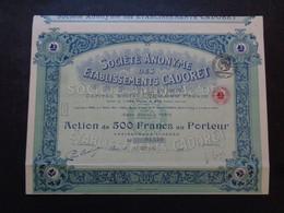 FRANCE - PARIS 1924 - ETABLISSEMENTS CADORET - ACTION DE 500 FRANCS - Zonder Classificatie