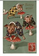 COCHONS HUMANISEES  - CHAMPIGNONS  - SAUTE MOUTON  -  BONNE ANNEE  -  ( Carte Gaufrée ) -  (  Pas Courant  ) - Dressed Animals