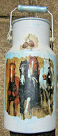 Pot A Lait Bidon Aluminium Peint + Décoré Avec Décalcomanie Collection Cheval Equitation 1 Litre - Arte Popular