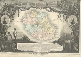 Carte Géographique Département Ile De La Réunion Colonie Française ( Illustré Par Perrot / Pelissier éditeur, Paris ) - Geographische Kaarten