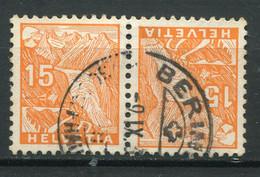 21949 SUISSE N°274a° 15c. Orange Glacier Du Rhone Tête-bêche  1934  B/TB - Tete Beche
