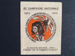 M1 -  Carnet Campagne Contre La Tuberculose 1972-1973 - Protégez Vos Poumons - Antituberculeux