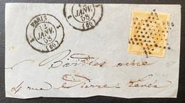 Fragment De Lettre N°13 Citron + Dateur Paris Route 1 Signé Calves - 1853-1860 Napoleone III