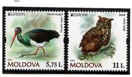 Moldova 2021 . Europa  CEPT. Endangered National Wildlife ( Birds , Owl , Stork ). 2v. - Moldavia
