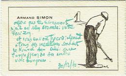 Carte Visite. Illustrateur Signé. Golf. Golfeur. Passage à L'An Neuf.  30/12/1940. Armand Simon. - Visiting Cards