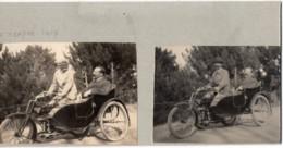 Moto Side-car MOTOSACOCHE 1919 - Photo 6x8cm X2 Collées Sur Carton - LE TRAYAS Homme Femme - Cars