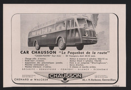 Pub Papier 1946 Automobiles Car Autobus Autocar Bus CHAUSSON CHENARD WALCKER  Gennevilliers - Advertising