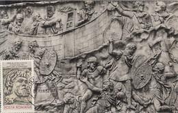 ARCHAEOLOGY, DACIAN WARRIOR, TRAJAN'S COLUMN DETAIL, CM, MAXICARD, CARTES MAXIMUM, 1980, ROMANIA - Archäologie