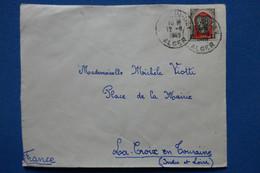 U23 ALGERIE FRANC.BELLE LETTRE   1943  ALGER    POUR LA CROIX TOURRAINE FRANCE + AFFRANCH. PLAISANT - Storia Postale