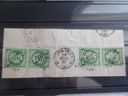 2 Paires N°12 5c Vert Napoléon Sur Fragment - 1853-1860 Napoleone III