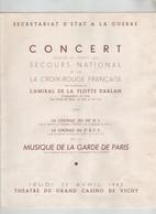 Concert Secours National Croix Rouge Darlan Chorale 26 è RI 2è BCP 1942 Vichy - 1939-45