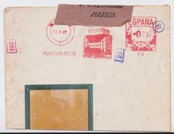 Madrid Banco De Vizcaya Lettre Espagne EMA Empreinte Machine Espana Correos Immeuble Banque Building Mail Cover 1942 - Poststempel - Freistempel
