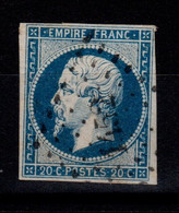 YV 14A Oblitere PC 1452 De Grenoble , 4 Marges, Pas Aminci - 1853-1860 Napoleone III