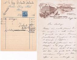 B4561- Palermo Due Fatture Del Fricker's Savoy Hotel, Una 1908 L'altra 1916 - Italy