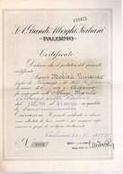 B4562- Palermo Certificato Di Lavoro Presso L'albergo Delle Palme Del Sig....... 1937 - Italy