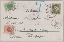 Bayern - 5 Pfg Wappen Unterfrank. Karte N. BELGIEN Mittenwald - St. Nicolas 1900 - Bavaria