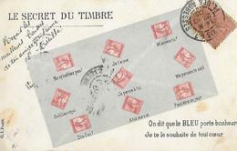 Représentation Timbres - Le Secret Du Timbre - France République Française Semeuse - On Dit Que Bleu Porte Bonheur Coeur - Stamps (pictures)