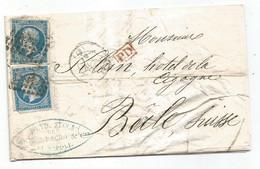 "-  BAS RHIN - STRASBOURG - PC.2950 S/TPND Napoleon III N°14 + Càd T.15 + ""PD"" Rouge - 1867 - 1853-1860 Napoleone III"