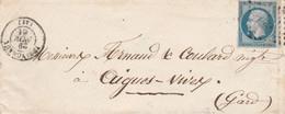 Yvert 14 - 4 Marges LSC YSSINGEAUX Haute Loire 29/11/1861 PC 3701 Pour Aigues Vives Gard Passe Vergèze - 1849-1876: Klassieke Periode