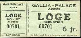 """Ticket Billet D'entrée """"Cinéma Gallia-Palace à Agen / Loge Réduction 6fr"""" - Toegangskaarten"""