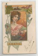 Cpa Illustrateur Fg Femme Art Nouveau Style Mucha Ed Meissner Et Buch : Abend 1904 - Autres Illustrateurs