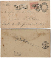 Brazil 1896 Postal Stationery Registered Cover RHM-EN-35 Sent From Manhuassu To Pelotas Additional Stamp Vertical Fold - Entiers Postaux