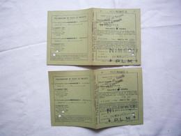 2 Billets Aller-retour Paris Nimes 1921 PLM - Europa