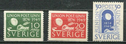 Schweden Sweden Sverige Mi# 351-3A Postfrisch/MNH - UPU 1949 - Neufs