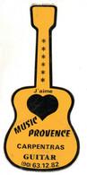 Pub Autocollants - J'aime Music Provence Carpentras Guitar  ( Année 1975) - Autocollants