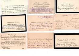 9 Cartes De Visites Autographes De Personnalités Militaires Du Début De 20° Siecle - Visiting Cards