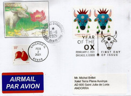 2021 Year Of The OX, First Day Issue Of Chicago, Sent To Principality Of Andorra, With Arrival Postmark - 2011-...