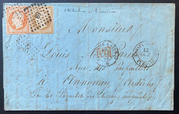 Lettre Levant N°13 & 16 Tarif 50c Obl PC 3707 De Constantinople Et PC 89 D'annonay En Arrivée Curiosité ! Signé Calves - 1853-1860 Napoleone III
