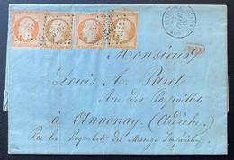 Lettre Du Levant Double Port N°13 X2 & 16 X2 Tarif  à 1FR Obl PC 3707 De Constantinople Pour Annonay Signé Calves - 1853-1860 Napoleone III
