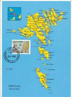 Faroe Islands MAP Postcard FDC 15-9-1995 MAP On Stamp - Faeröer