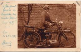 Moto TRIUMPH  ARIES 1925 LILLE Carte Photo - Motorbikes