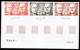 FRANCE (1976) Franklin. Vergennes. Trial Color Proof Margin Strip Of 3. Scott No 1480, Yvert No 1879. - Prove