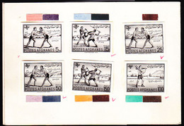 AFGHANISTAN (1961) Children Wrestling, Skating, Fencing, Playing With Indian Clubs. Proof Booklet Containing 6 Black - Afghanistan