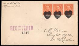 U.S.A. (1930) Heart. Fancy Cancel From Muncie, Illinois. Three Strikes In Black On Registered Envelope. - Storia Postale