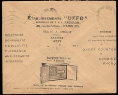 FRANCE (1935) Superheterodyne Shortwave Radio And Phonograph.  CCP (Postal Checks) Free Frank Envelope. UFFO - Publicidad