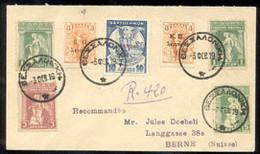 GRECE (1919) Croix-Rouge. Enveloppe Recommandée Affranchi Avec Timbres De Prévoyance Sociale Différentes. - Cartas