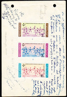 AFGHANISTAN (1964) Children Playing Ball. Proof Sheet For Issued Stamps, With Comments In French And Pashto - Afghanistan