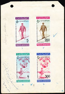 AFGHANISTAN (1964) Afghan Skier. Children Jumping Rope, On Swing. Proof Sheet For Issued Stamps, With Comments - Afghanistan