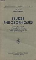"""Etudes Philosophiques - Ludwig Feuerbach - Le Matérialime Historique - Lettres Philosophiques, Etc.. - """"Bibliothèque Mar - Psychology/Philosophy"""