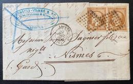 Lettre Empire N°13A I Paire Bistre Brun Avec Grand Bord De Feuille En Triangle Obl PC 65 Pour Nimes Superbe ! - 1853-1860 Napoleone III