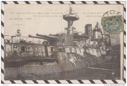 5AH610 CUIRASSE D'ESCADRE IENA APRES L'EXPLOSION DU 12 MARS 1907 COTE TRIBORD ET BASSIN.2  SCANS - Warships