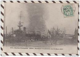 5AH611 CUIRASSE D'ESCADRE IENA PENDANT L'EXPLOSION DU 12 MARS 1907 .2  SCANS - Warships
