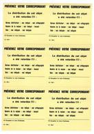Document Interne La Poste Etiquette PREVENEZ VOTRE CORRESPONDANT Distribution Retardée. Planche De 6 étiquettes Type 1 - Documents Of Postal Services