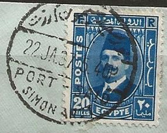 Timbre Egypte Belle Obliteration Port Simon - Used Stamps