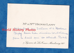Carte De Visite Ancienne - PARIS 7e - Monsieur & Madame Henri LAMY - Adressé Au Docteur BIGEY - Généalogie - Visiting Cards