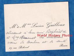 Carte De Visite Ancienne - ROUEN - Monsieur & Madame Lucien GUILLOUX - 57 Rue Bihorel - Histoire Généalogie - Visiting Cards